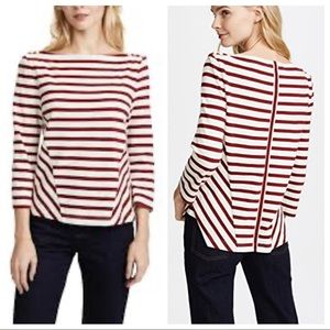 Veronica Beard Striped Boat Neck Top Large